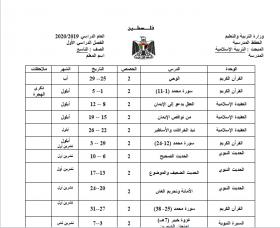 منصة عمر التعليمية | خطة فصلية لمادة التربية اللإسلامية للصف التاسع الفصل الأول