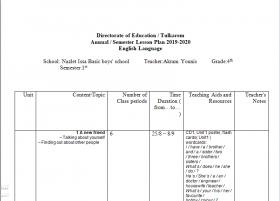 منصة عمر التعليمية | خطة فصلية في مادة اللغة الإنجليزية للصف الرابع الفصل الأول